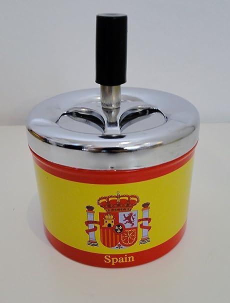 Cenicero Pulsador giratorio bandera español España: Amazon.es: Hogar