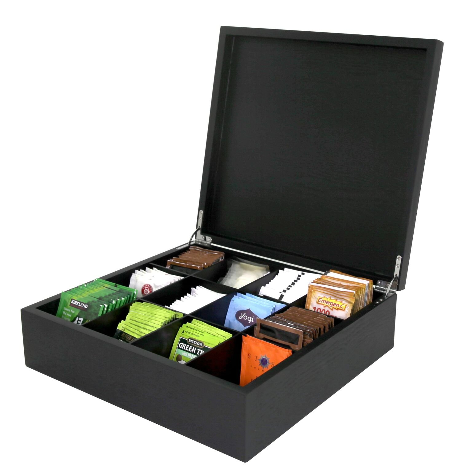 Tea Box Wood Storage Organizer Tea Bags 250+, 12 Compartments by Tech Swiss