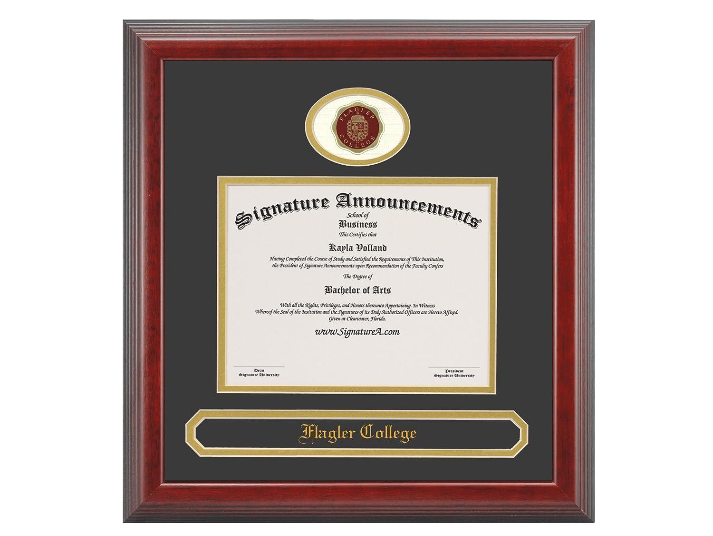 Signature Announcements Flagler College Undergraduate Sculpted Foil Seal /& Name Graduation Diploma Frame 16 x 16 Matte Mahogany