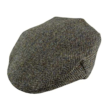 0e10eaf4 100% Authentic Mens Harris Tweed Flat Cap - Various Colours (Brown  Herringbone)