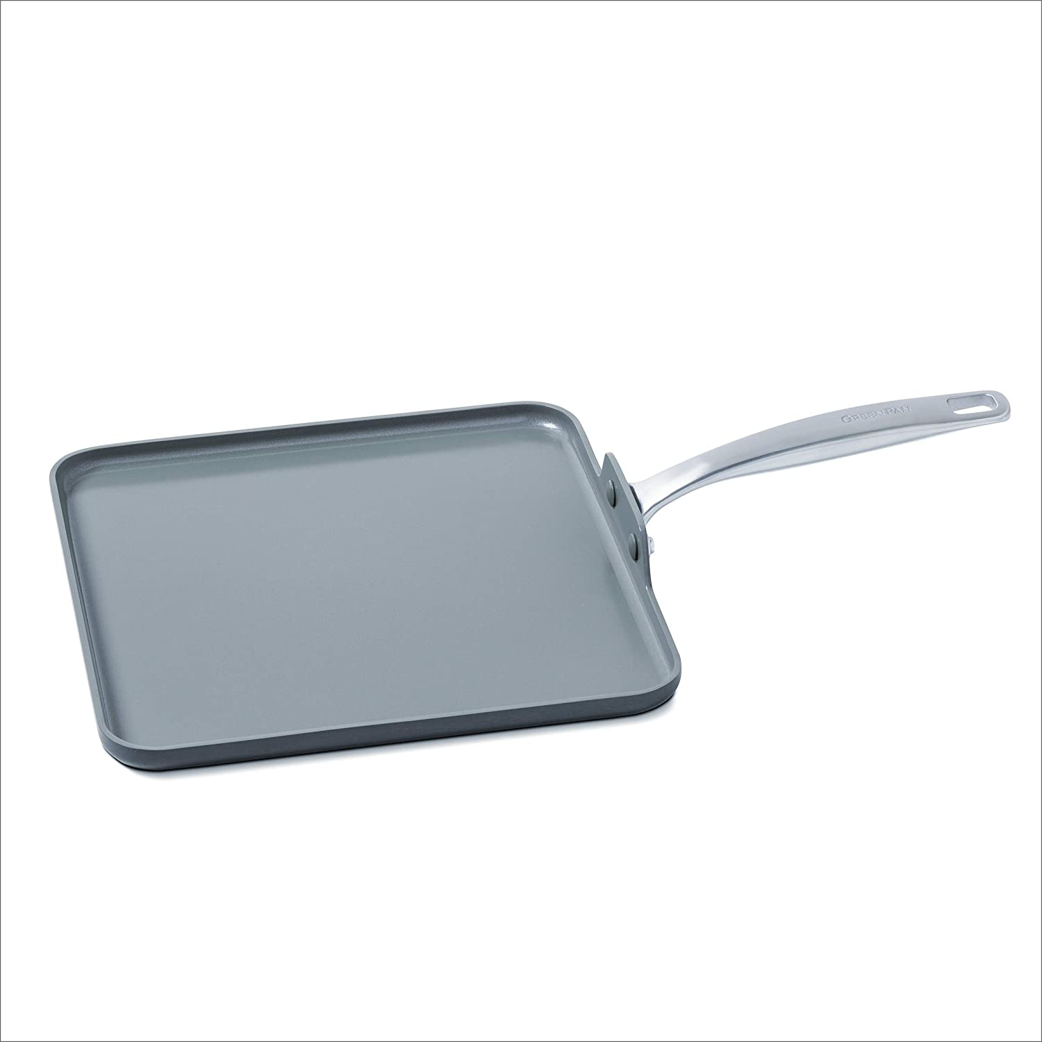 "GreenPan Chatham 11"" Ceramic Non-Stick Square Griddle, Grey"