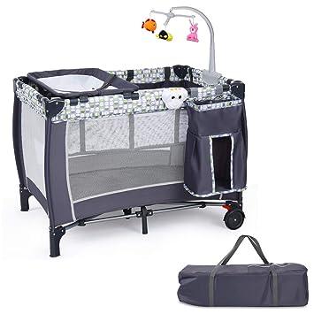 COSTWAY Cuna de Bebé 100 x 70 x 76cm Cama de Viaje con 2 Ruedas Cojín para Cambia Pañal Bolsa de Transporte: Amazon.es: Bebé