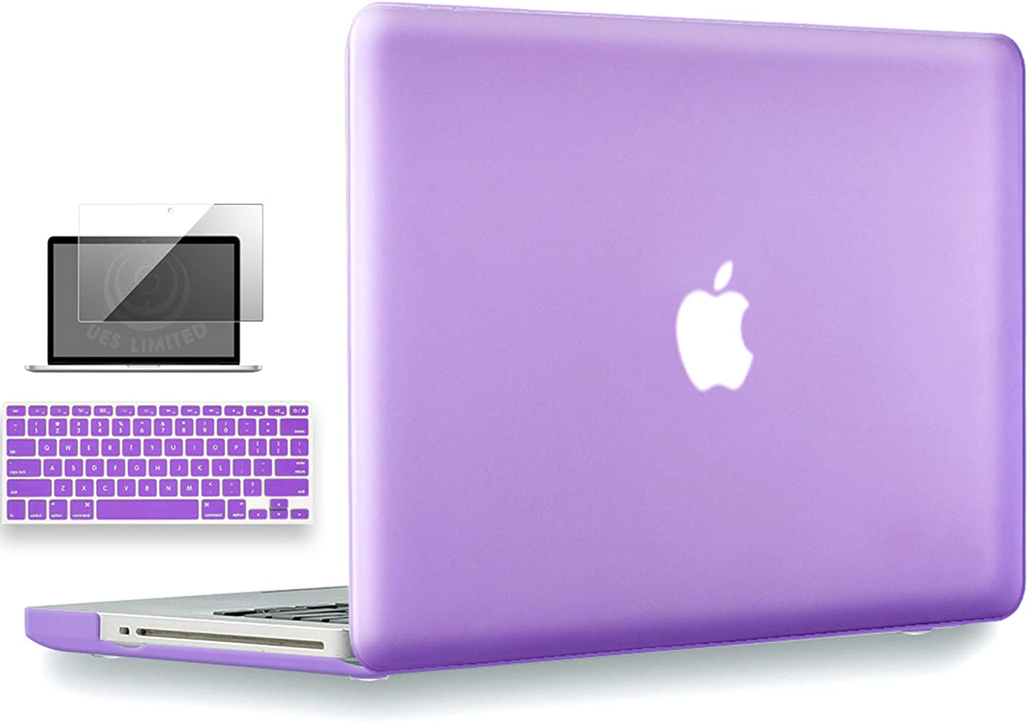 UESWILL 3in1 Smooth Matte Hard Shell Case Cover Compatible with MacBook Pro 13 inch with CD-ROM (Non-Retina) (Model A1278) + Keyboard Cover and Screen Protector + Microfibre Cleaning Cloth, Purple