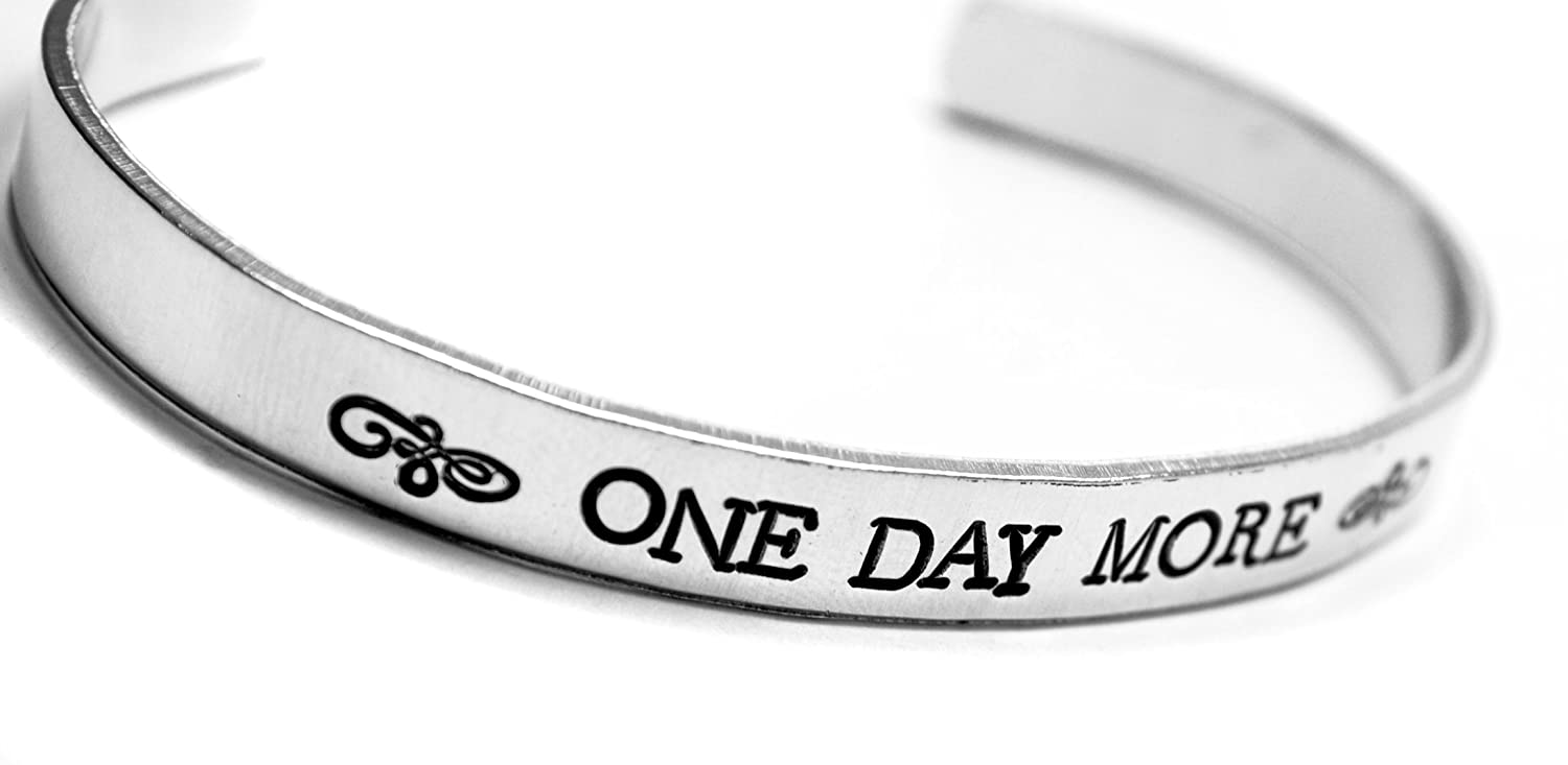 Newsprint Caps Font One Day More 1//4-inch Hand Stamped Les Miserables Inspired Bracelet