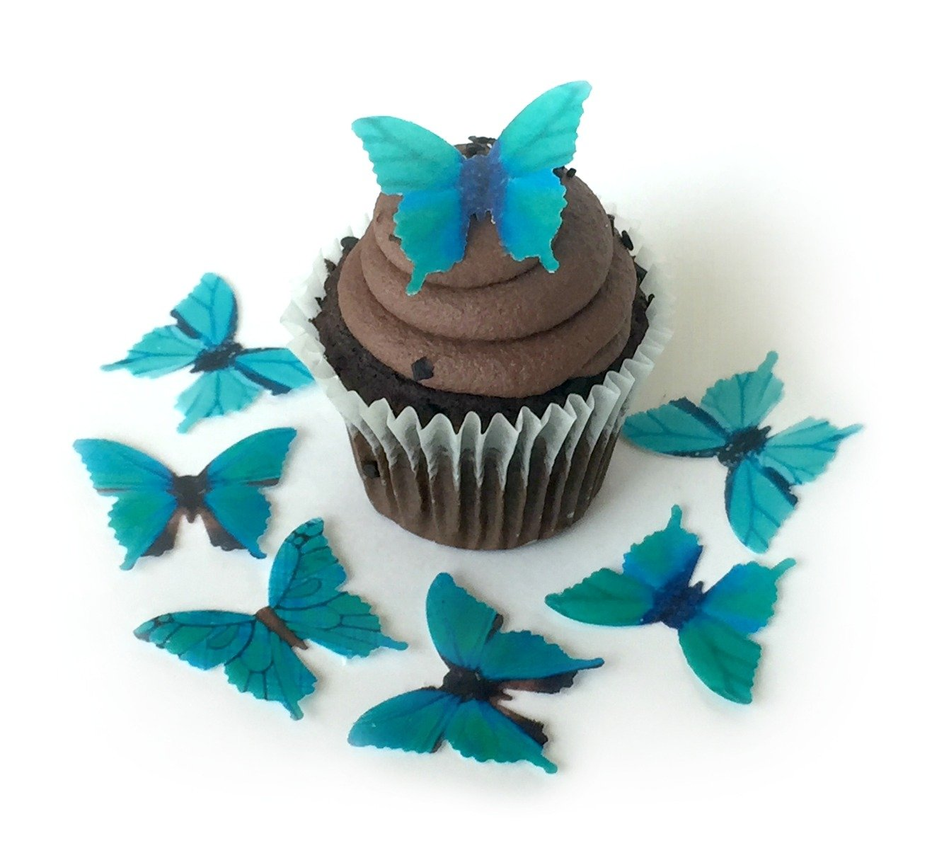 Assorted Teal Green Aquamarine Wafer Paper Butterflies 1.75 Inch for Decorating Desserts Pack of 24