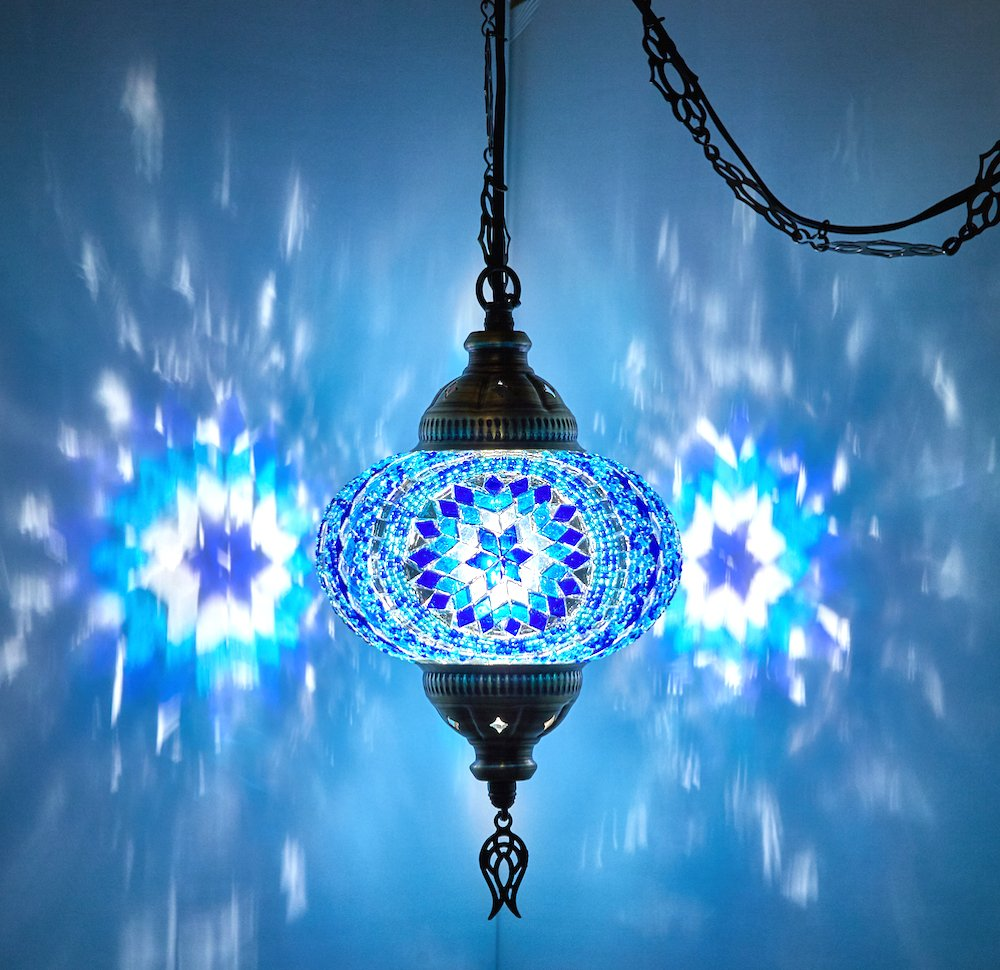 Demmex turkish moroccan mosaic hardwired or swag wall plug in chandelier light ceiling hanging lamp pendant fixture 1 x 6 5 globe swag