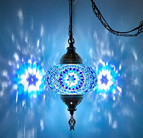 sports shoes 6c4d4 0cf85 DEMMEX Turkish Moroccan Mosaic Plug in Swag Pendant Lamp Light Fixture  Plugged Chandelier, US Plug with 15feet Chain - Customizable Colors (6.5