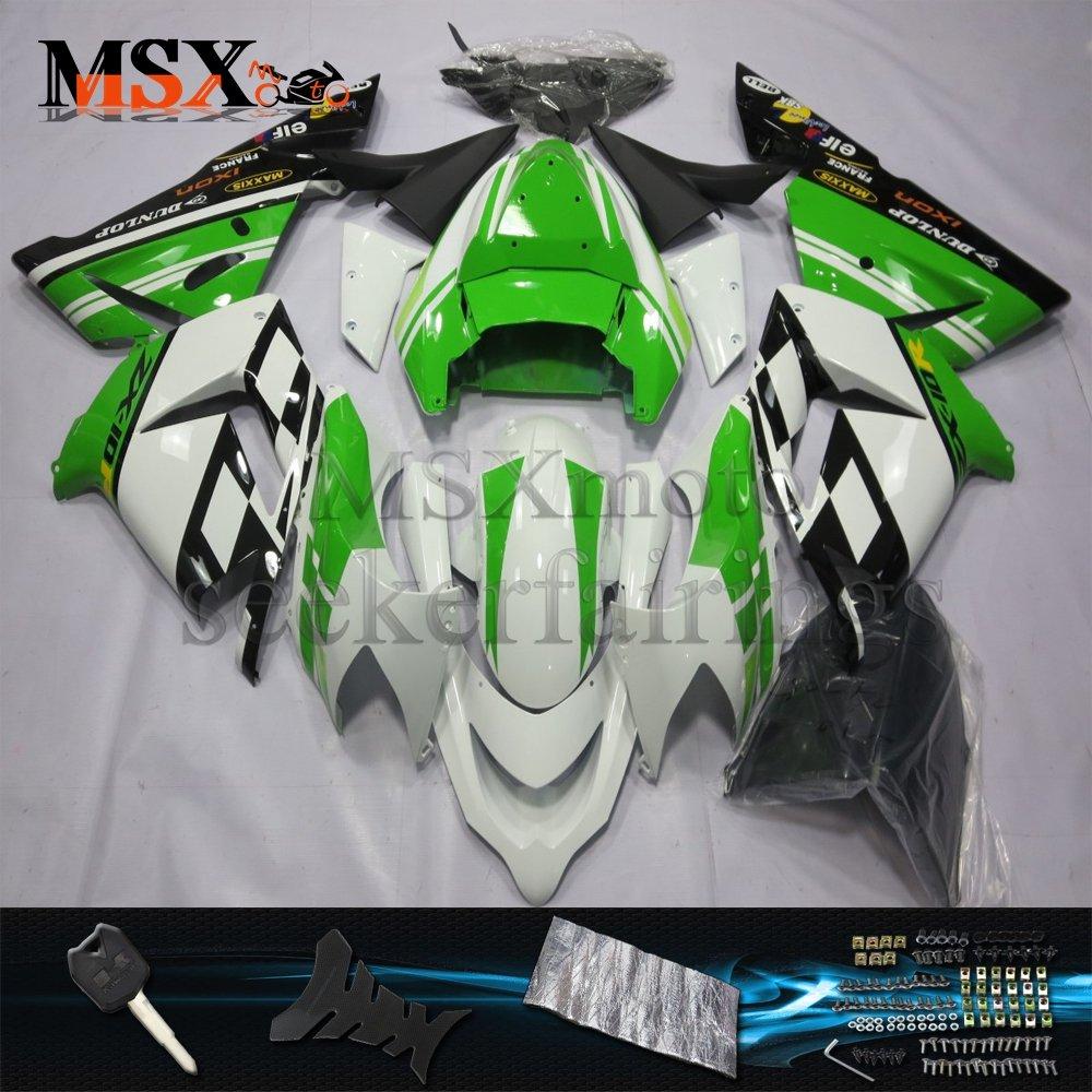 MSX-moto 適応 ZX10R 2004 2005 ZX 10r 04 05年 外装パーツセット ABS射出成型完全なオートバイ車体 绿/グリーン&白/ホワイトのボディ   B07DZM3TTK