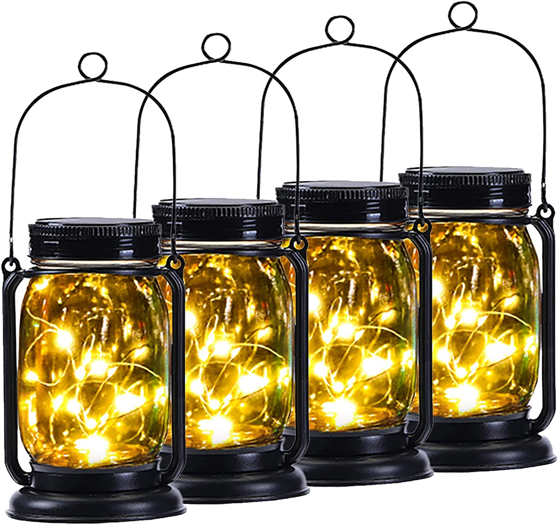4 Pack Yeuago Solar Lantern Outdoor Backyard Decor Hanging Mason Jar Solar Lights with 30 Led Lights Retro Design Waterproof Garden Decor for Outside(Warm Light) (4 Pack)