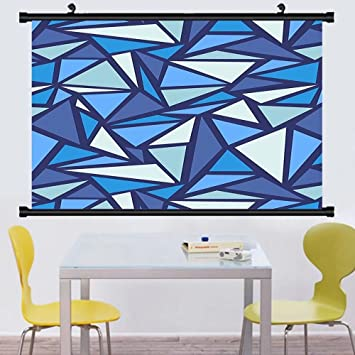 Gzhihine Wall Scroll Geometric Decor Collection Abstract Ce Crystal Pattern  Frost Cold Triangle Sharp Edges Monochromatic