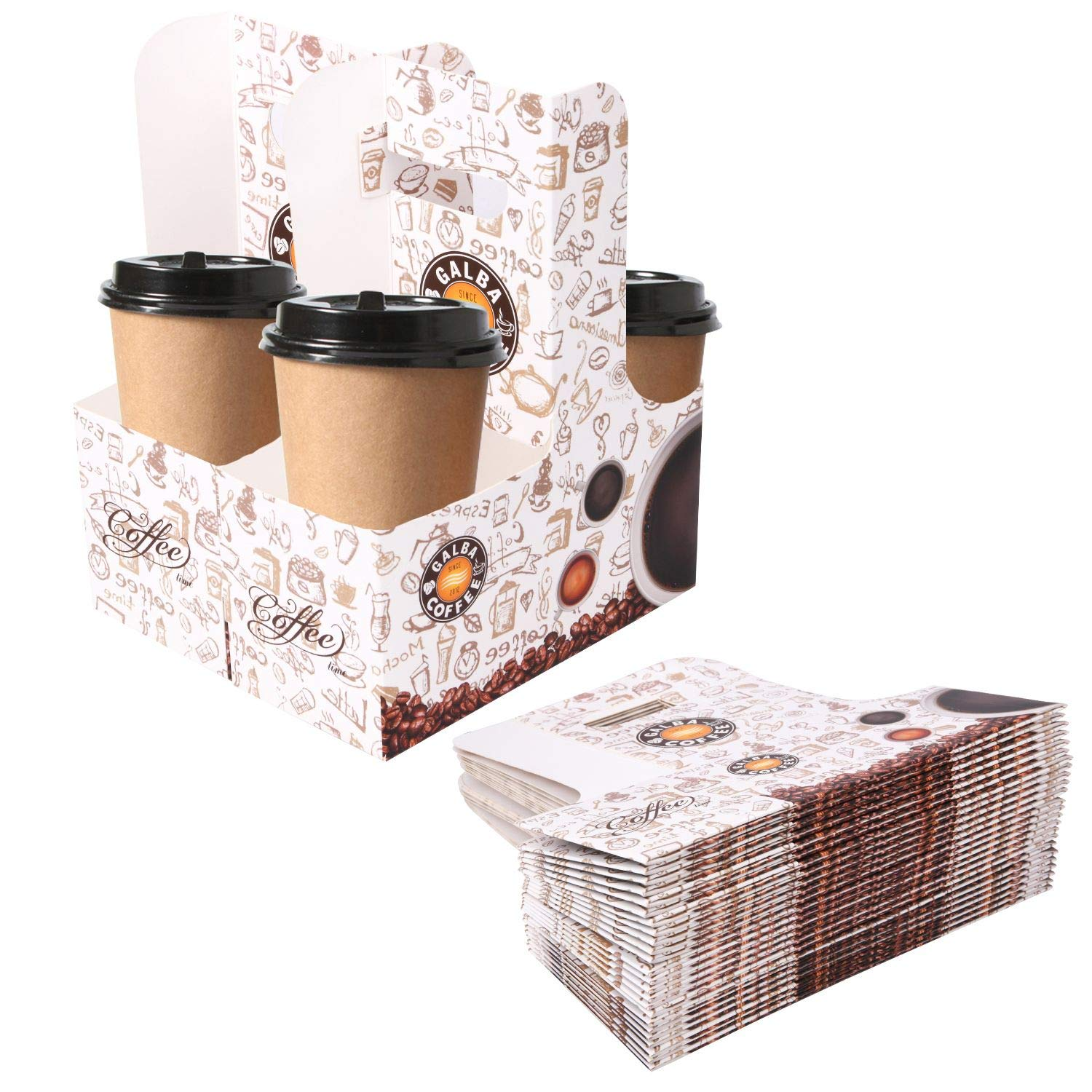 Karderon 40 Pack Drink Carrier with Handles, 2 Cups or 4 Cups Assemblable Kraft Cup Carriers Great for All Your Beverage Needs