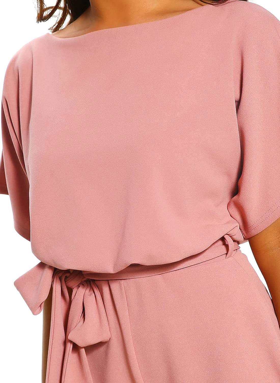 Itsmode Damen Jumpsuit Overall Einteiler elegant Hosenanzug Playsuit Breites Bein Romper mit G/ürtel