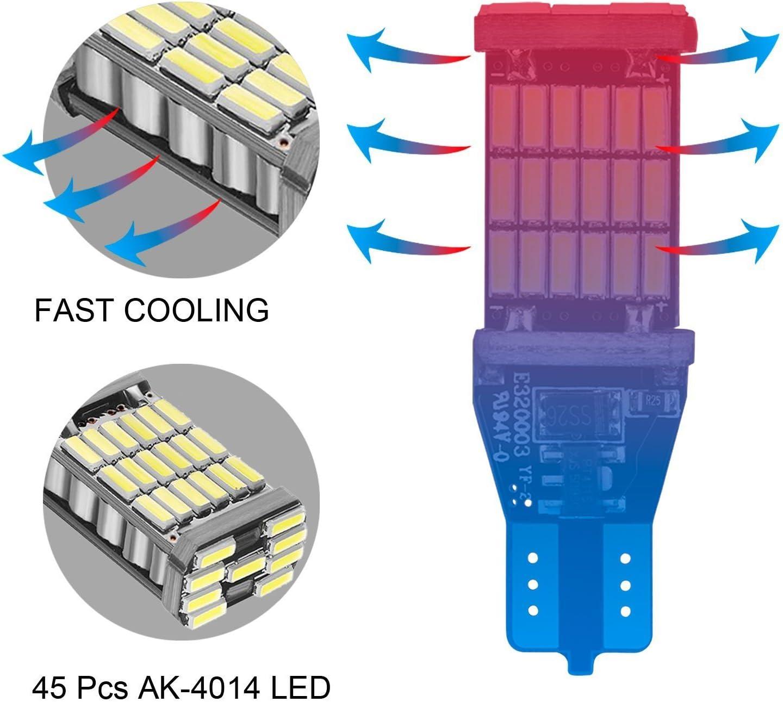 BingBingMotor Extremely Bright Non-Polarity Canbus Error Free AK-4014 45pcs Chipsets LED Bulbs For Backup Reverse Lights Pack of 2 921 912 T10 T15 White 1200 lumens 12V-24V Xenon White 6000k