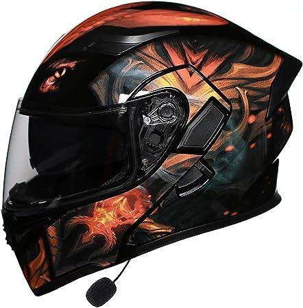 Mttkttbd Bluetooth Motorradhelm Klapphelme Mit Led Rücklicht Erwachsene Integralhelm Motorrad Mit Anti Fog Doppelvisier Motocrosshelme Mit Eingebautes Mikrofon Ece Zertifiziert Sport Freizeit