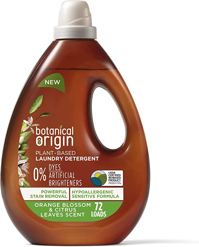 Botanical Origin Plant-based Laundry Detergent, Free from Dyes and Brighteners, Orange Blossom & Citrus Leaves, 54 oz (72 Loads) (6233872719)