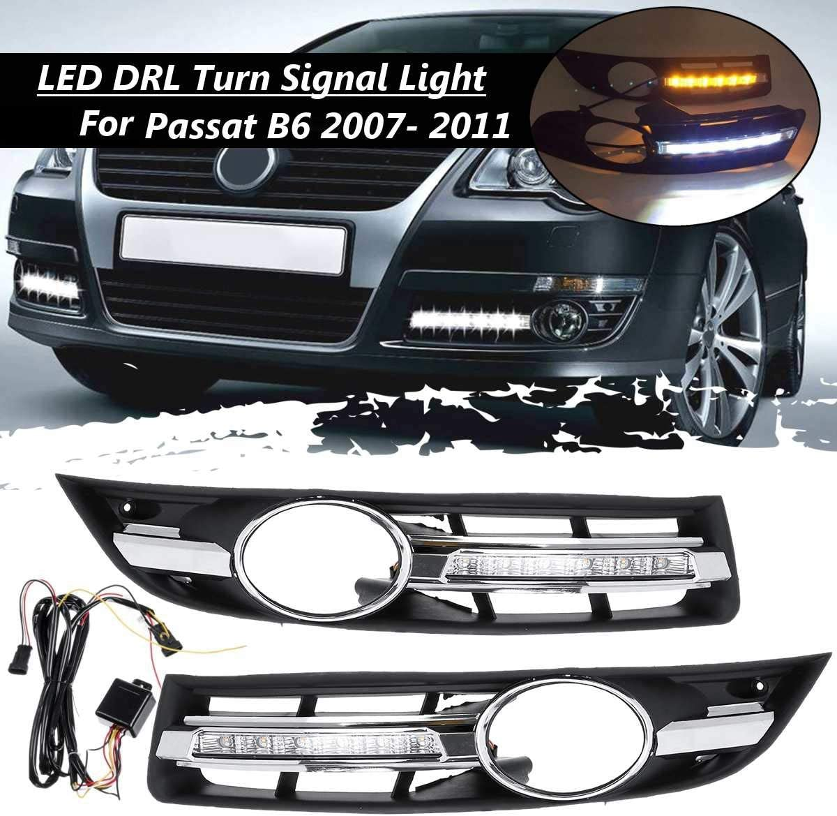 Moligh doll Car LED DRL Light Daytime Running Light with Grill Surround for Passat B6 2006-2011 Waterproof