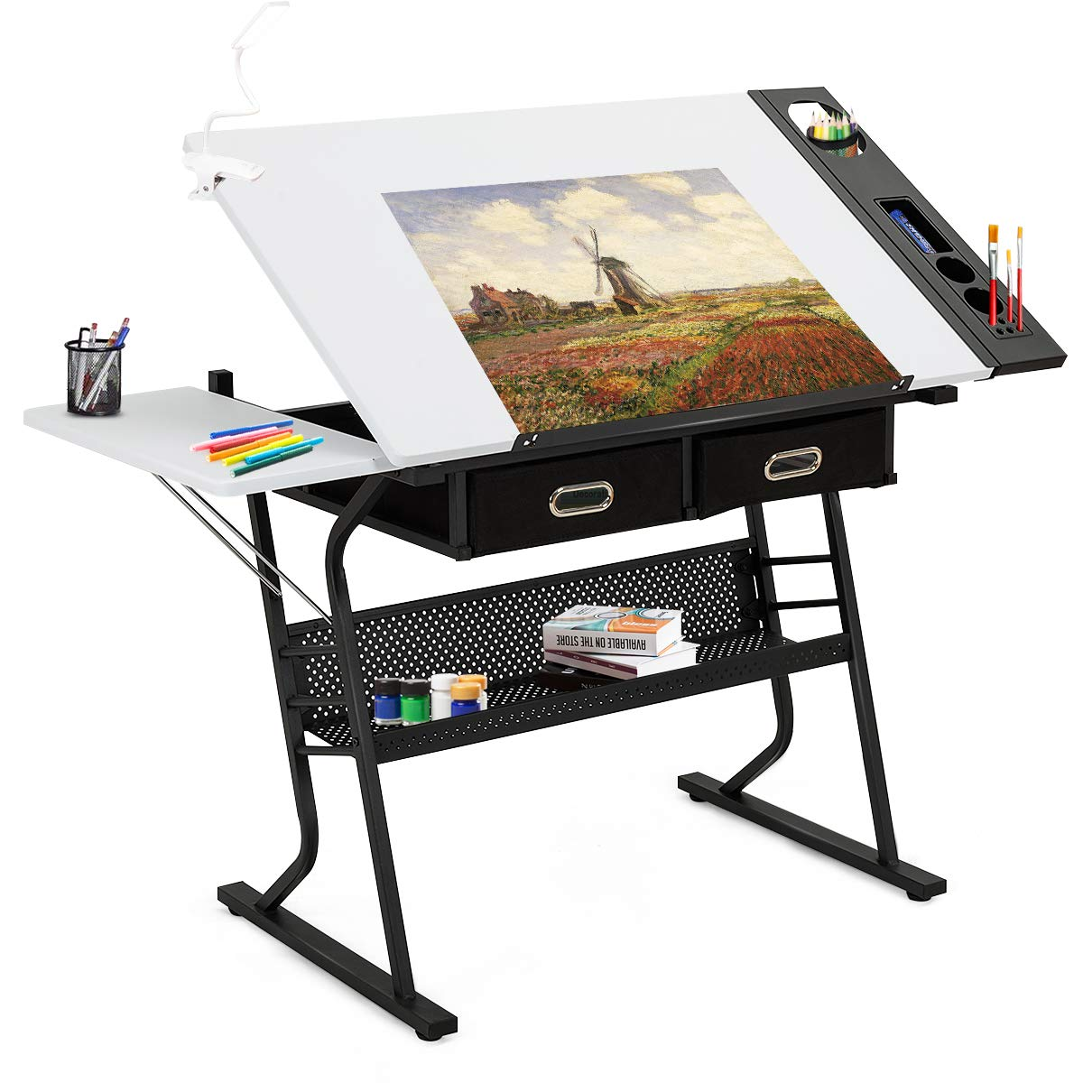 Tangkula Adjustable Drafting Table Art & Craft Drawing Desk Folding with Drawers