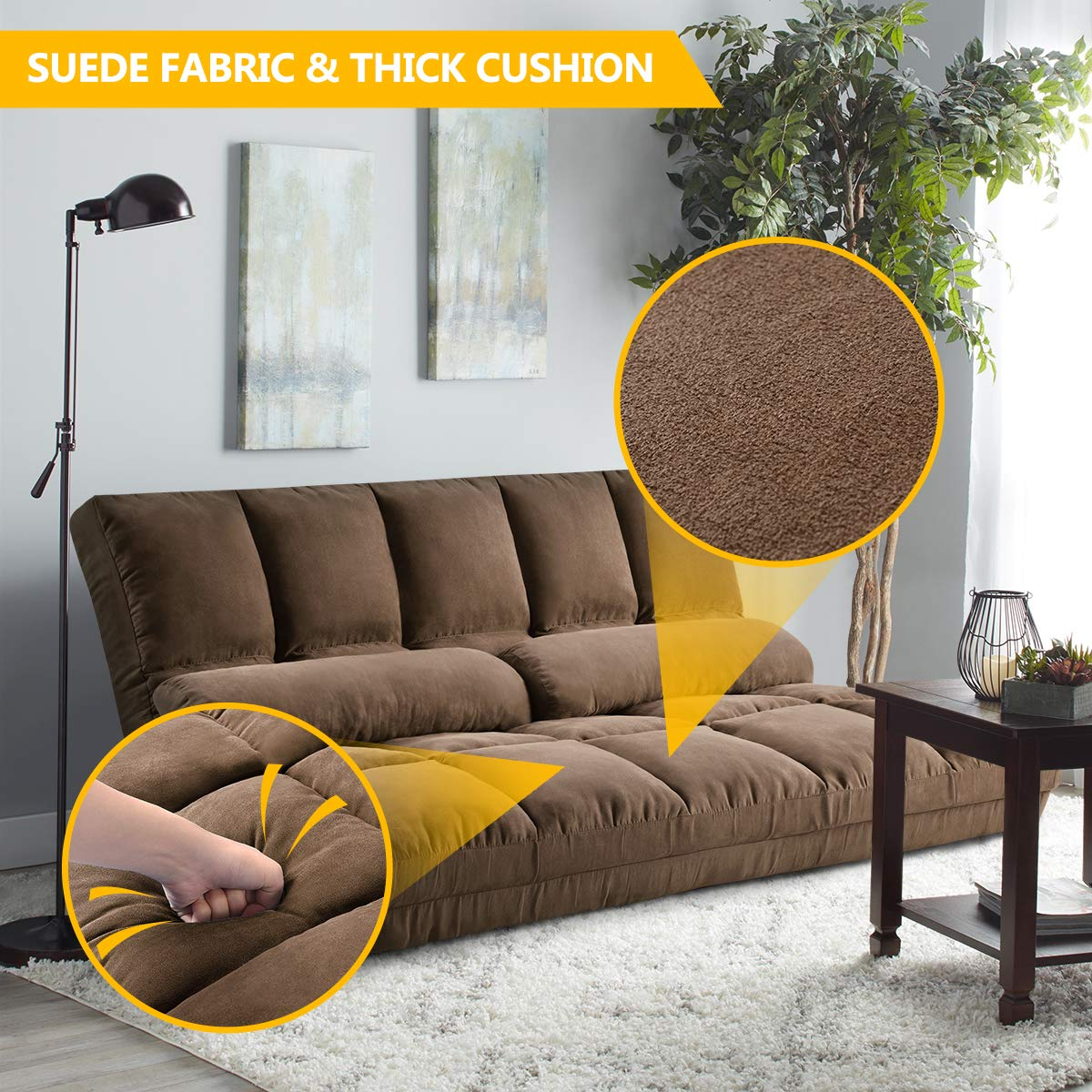 Double Chaise Lounge Sofa Chair Floor Couch with Two Pillows Brown