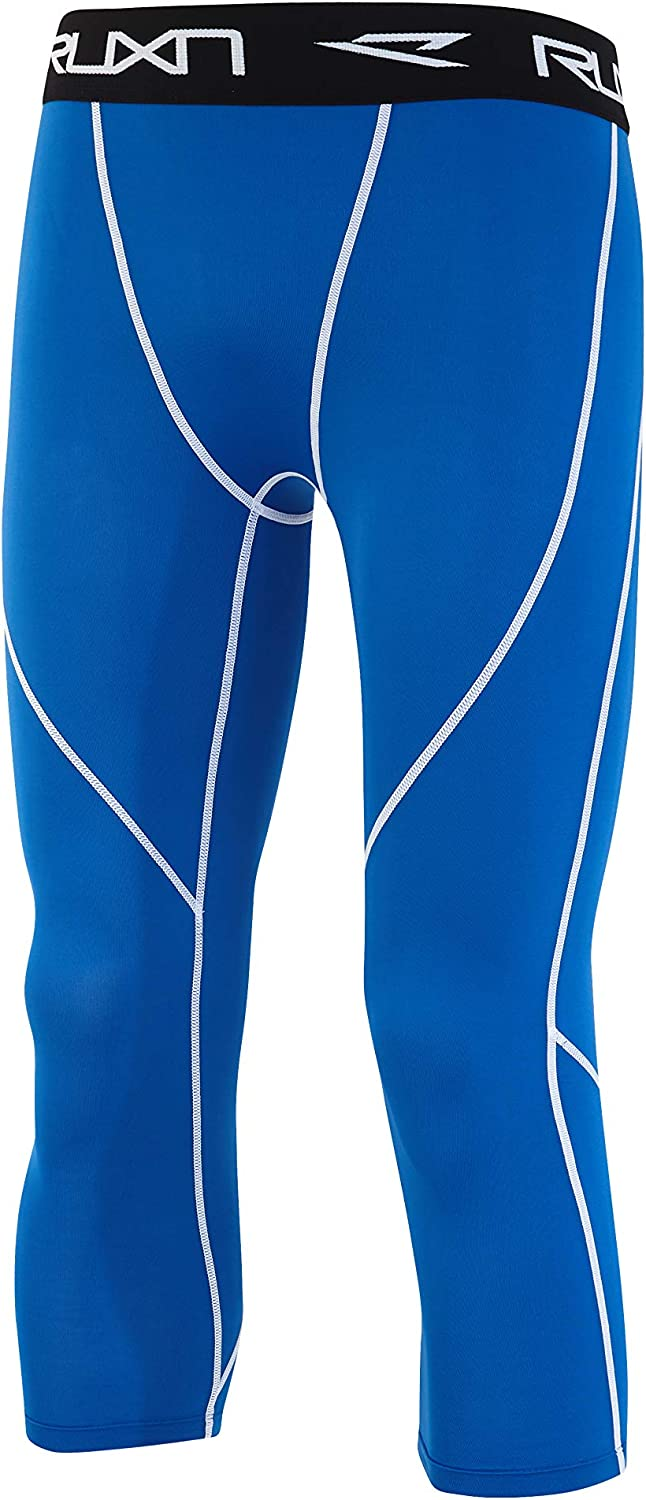 Active Sport Quick Dry Athletic Leggings Base Layer RUXN Mens 3//4 Compression Pants Workout Running Tights for Men