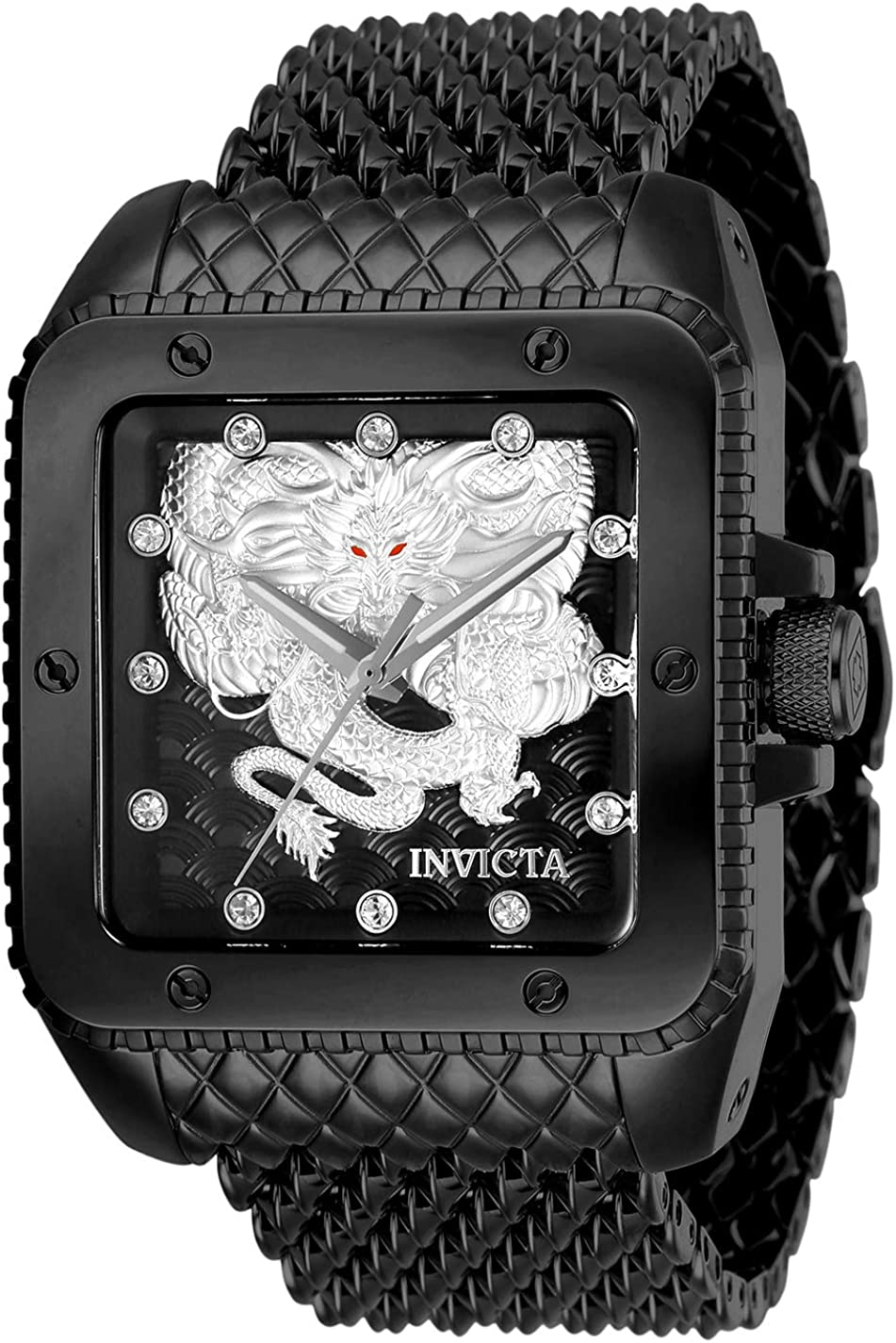 Invicta Men s Cuadro Automatic-self-Wind Stainless Steel Strap, Black, 28 Casual Watch Model 28512