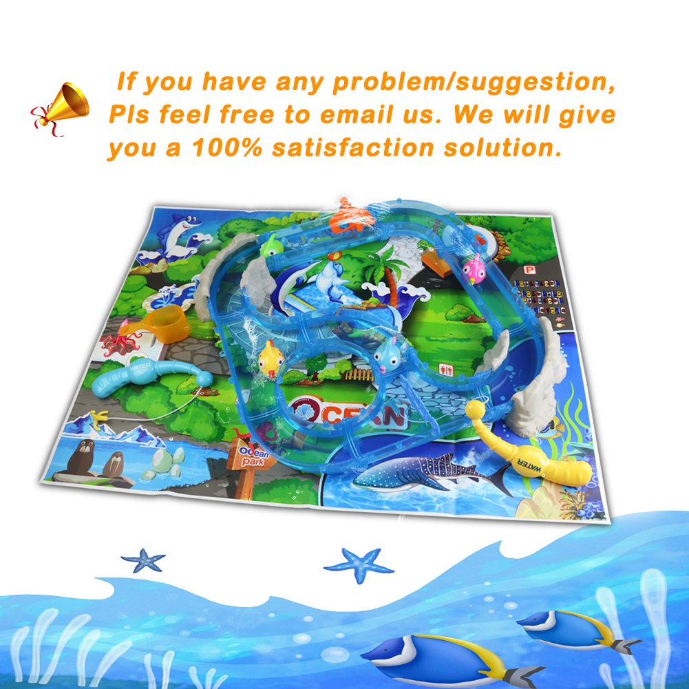 Water Play Table Toy Fishing Game Splash Waterpark with Accessories and Music Shine for Kids 3+, 30*29*17cm, Small Size
