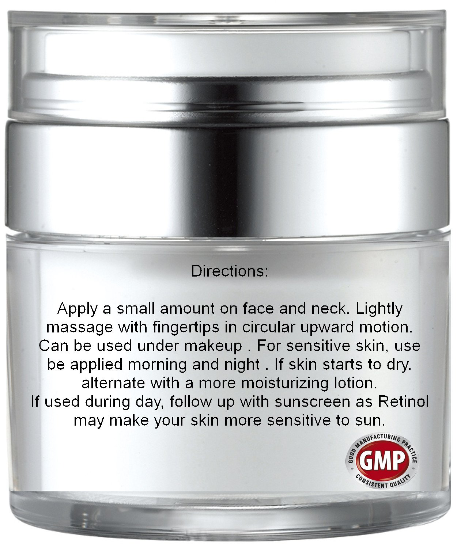 Retinol amounts in moisturizers - Amazon Com Harisu Cosmeceuticals S Retinol Moisturizer Cream Anti Wrinkle Lotion For Your Face With Vitamin C Hyaluronic Acid With 2 5 Active Retinol