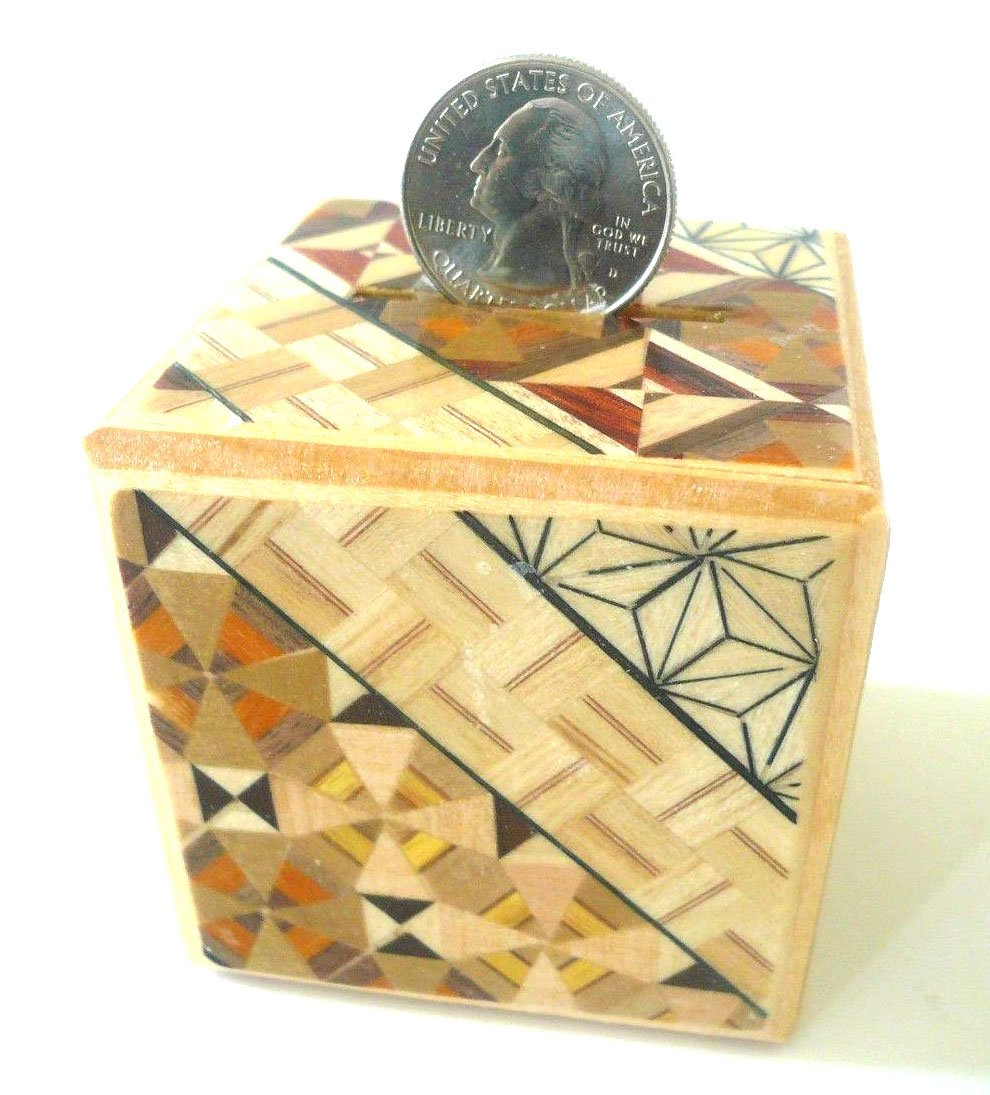 Japanese Samurai Wooden Yosegi Magic Coin Saving Bank Puzzle Trick Box HK-035, Made in Japan Yokohama Gifts