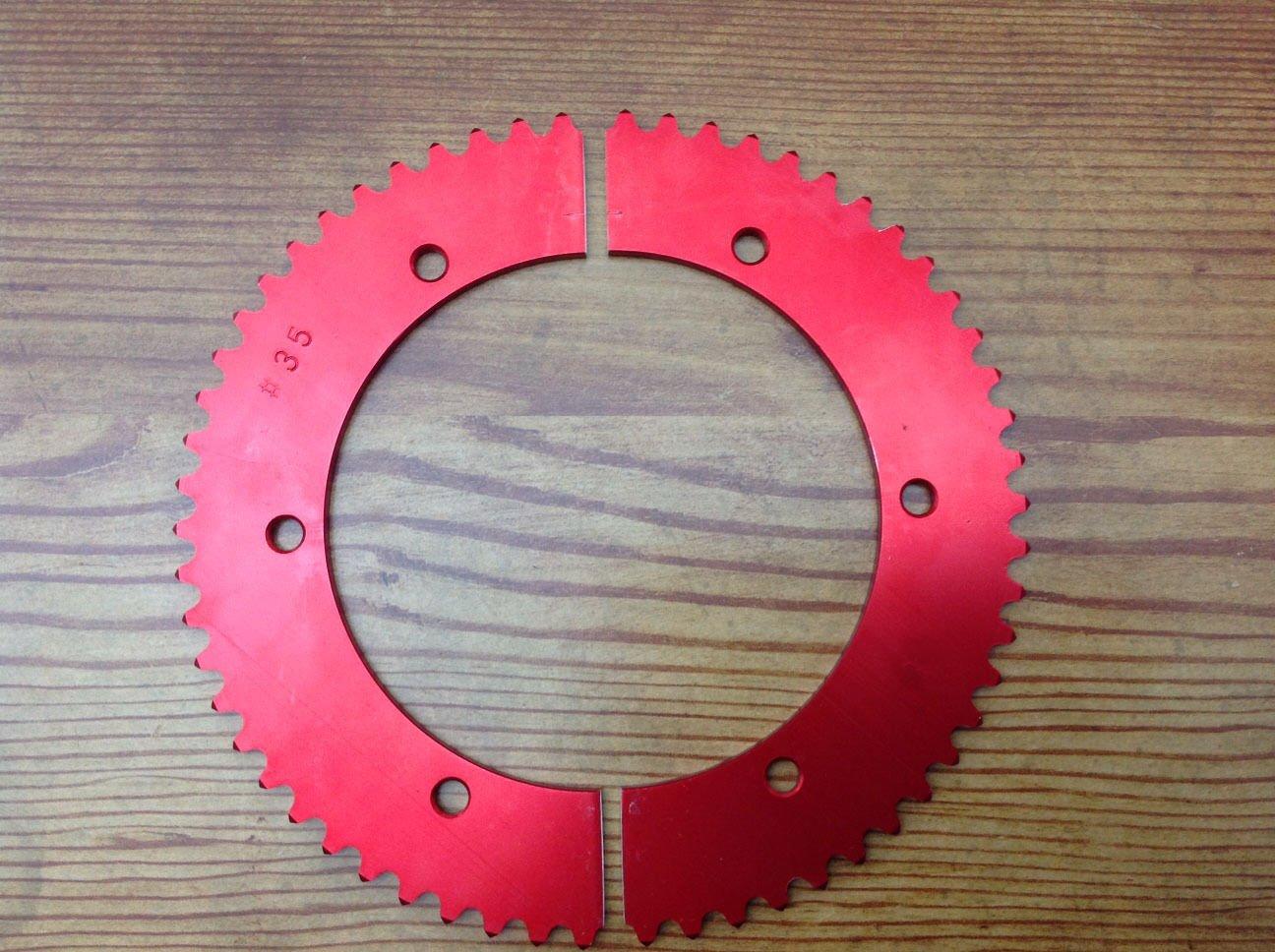2-Piece #35 Pitch Split Go Kart Sprocket Red Anodized - Aluminum 77
