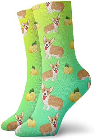 Calcetines Unisex Fun Dress - Calcetines coloridos Funky - Calcetines Welsh Corgi Dog Puppy y Lemon