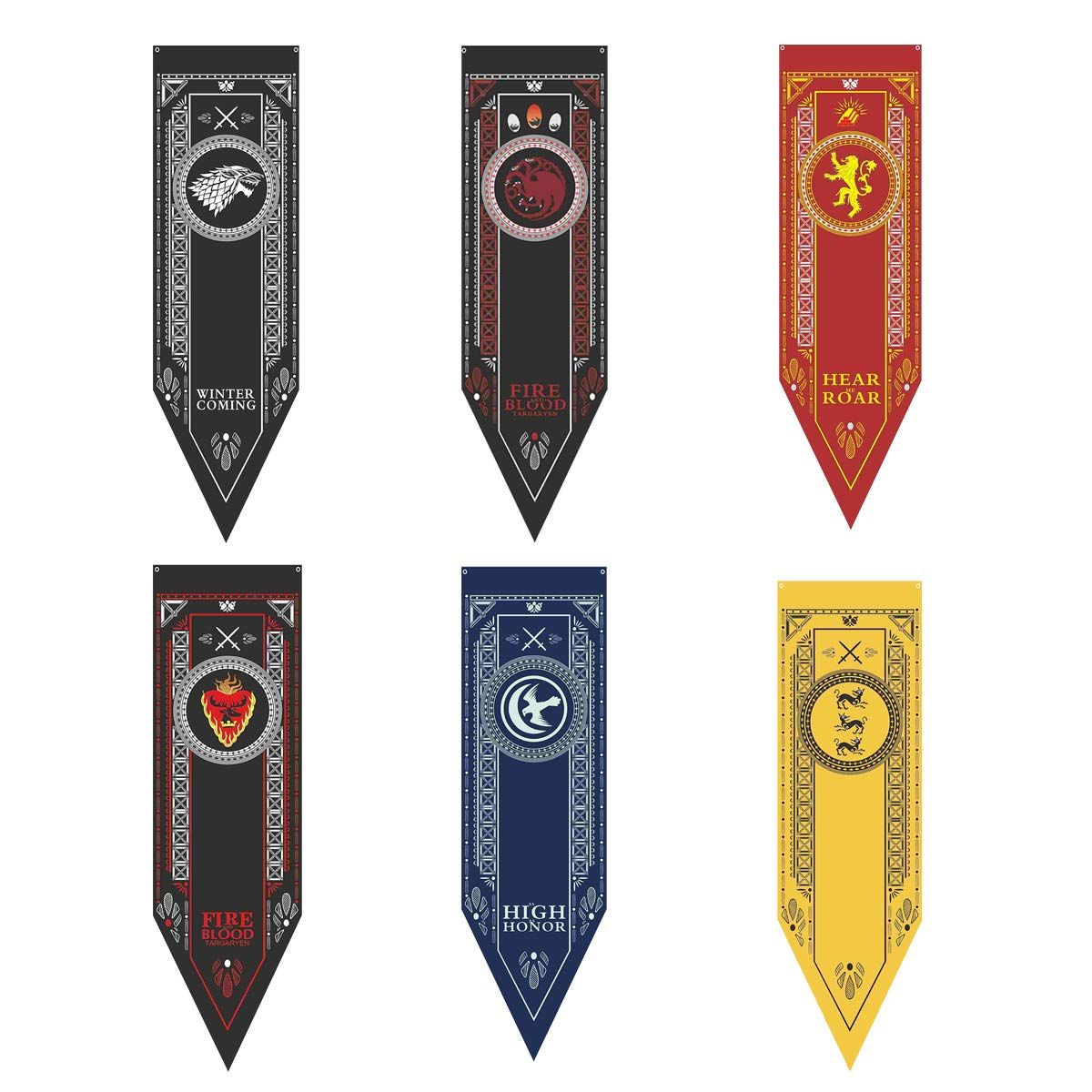 6pcs Game of Thrones House Sigil Tournament Banner, Party Supplies Banner - 19'' by 60'' One Side Only by Huuflyty