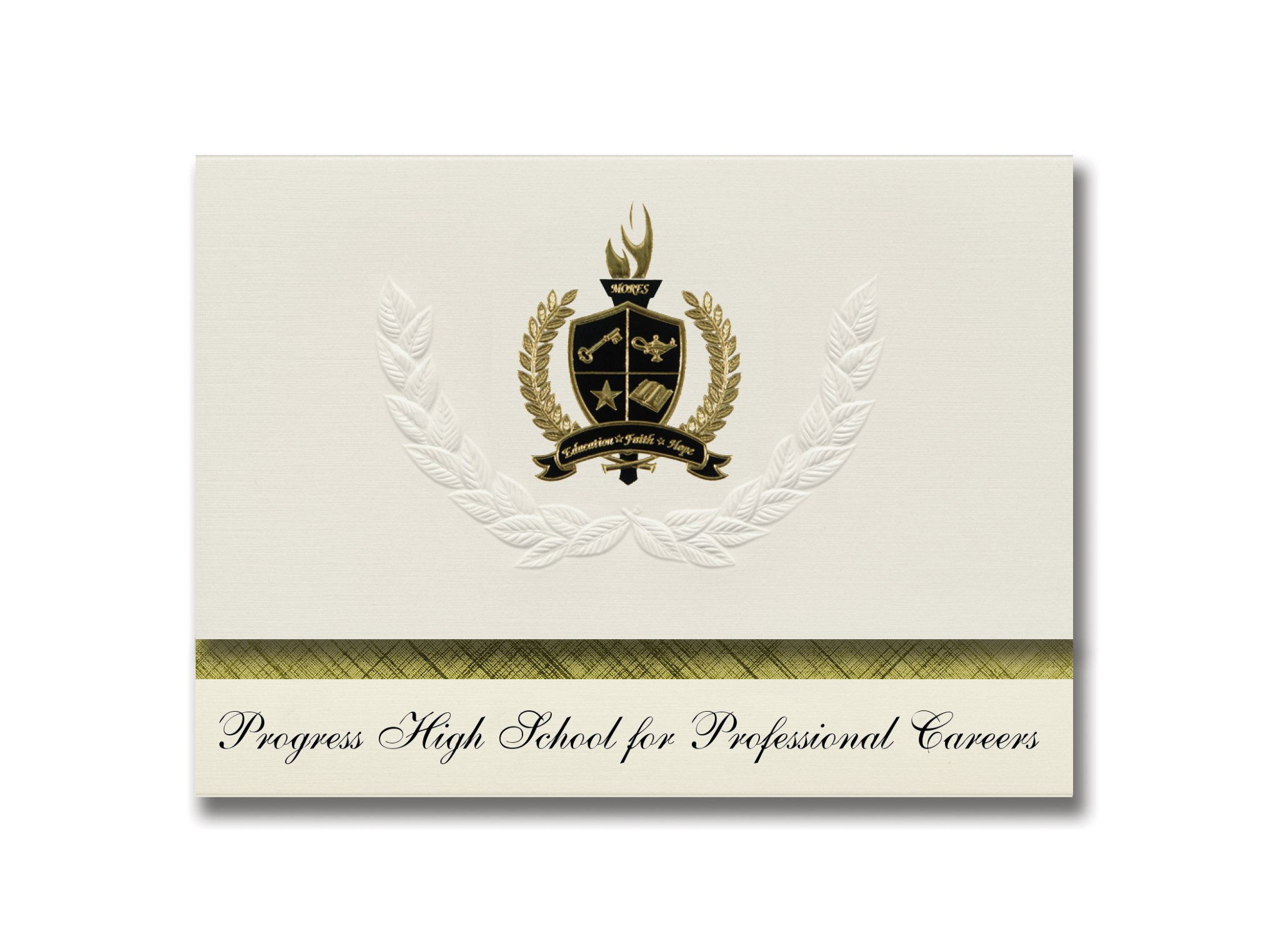 Signature Announcements Progress High School for Elite Careers (Brooklyn, NY) Graduation Announcements, Presidential Elite Pack 25 w/ Gold & Black Foil seal