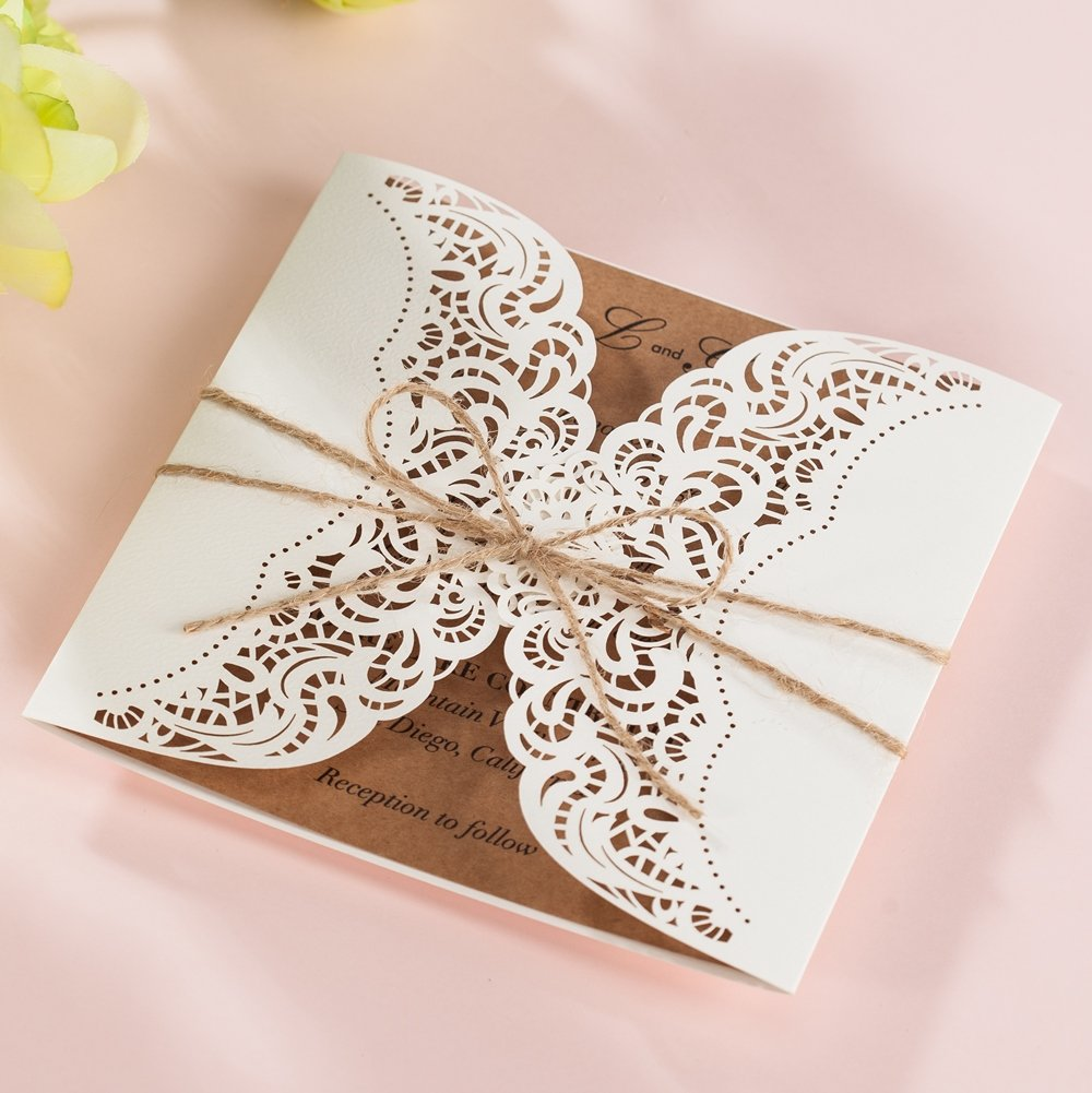 Wishmade 100x Laser Cut Invitations Cards Kit With Rustic Rope For Wedding Party Birthday Occasion AW7512 by Wishmade (Image #4)