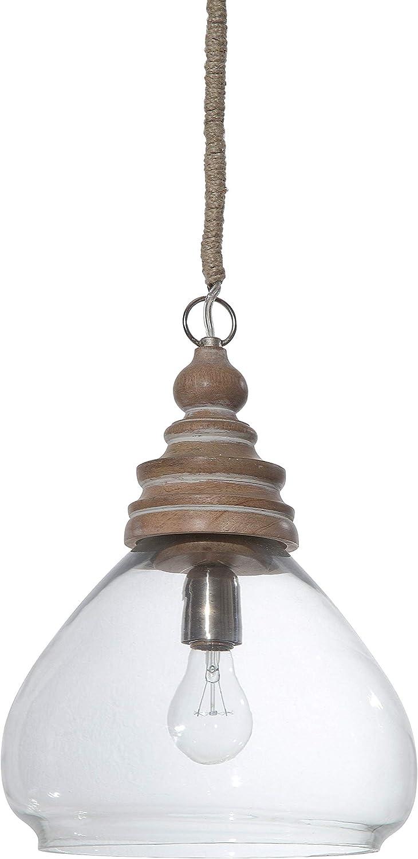 Glass and Mango Wood Ceiling Pendant Light