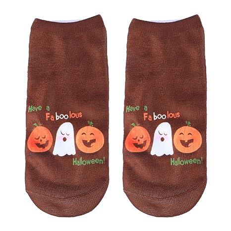FENICAL 1 par de Mujeres Corte bajo Tobillo Calcetines Tema de Halloween Impreso elástico Antideslizante All