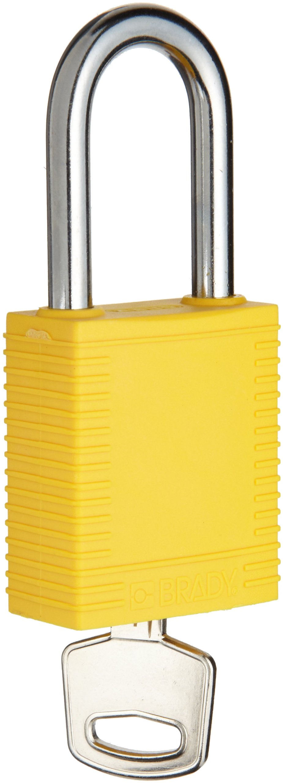 Brady Plastic Lockout/Tagout Padlock, Keyed Alike, 1-3/4'' Body Length, 1-1/2'' Shackle Clearance, Yellow (Pack of 6)