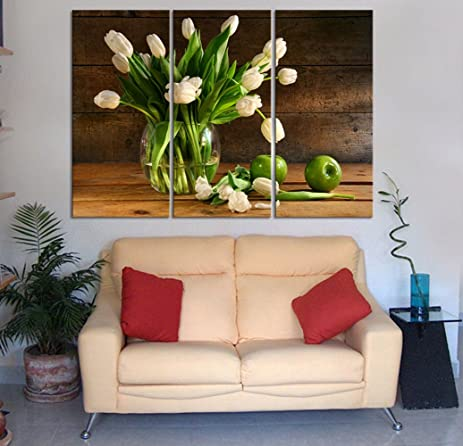 Amazon.com: yozhohoo 3 Panel European Wall Art Painting Lily Prints ...