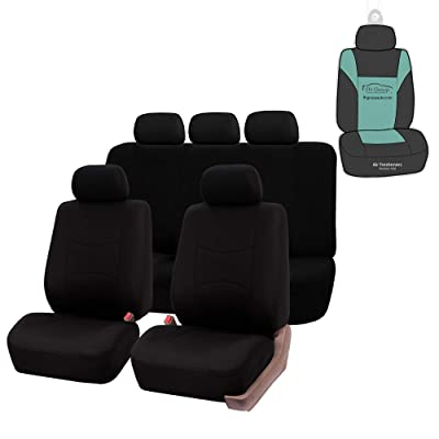 FH Group FB051115 Multifunctional Flat Cloth Seat Covers (Black) Full Set with Gift - Universal Fit for Trucks, SUVs, and Vans: Automotive
