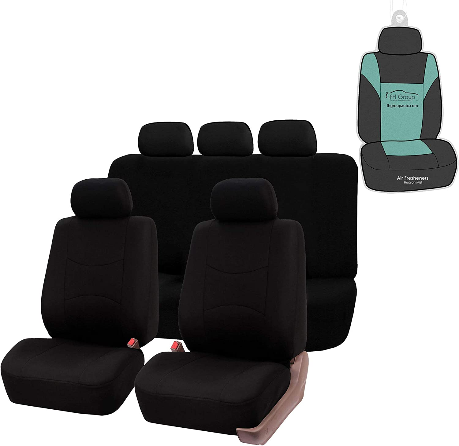 FH Group FB051115 Multifunctional Flat Cloth Seat Covers (Black) Full Set with Gift - Universal Fit for Trucks, SUVs, and Vans