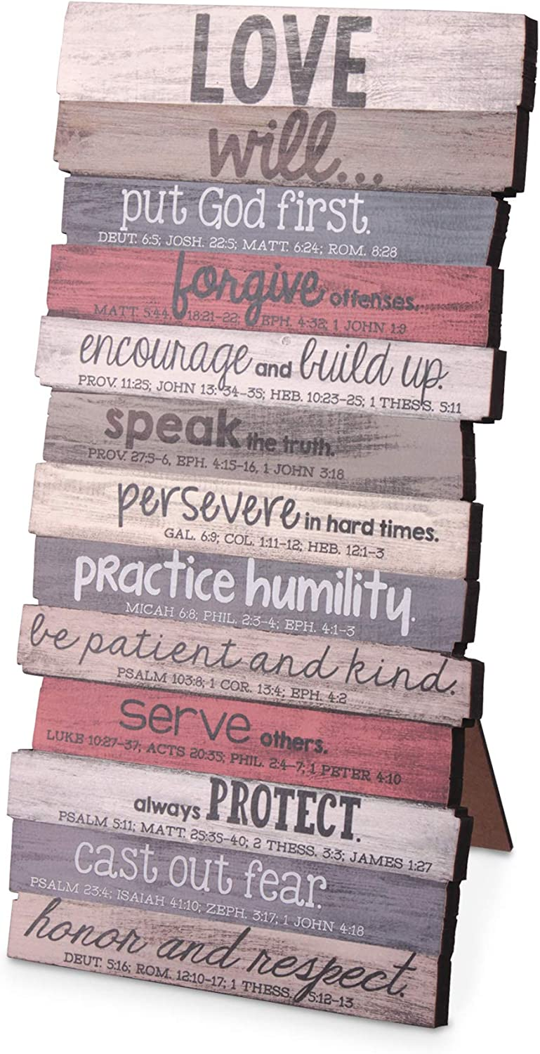 Lighthouse Christian Products Love Will Put God First Rustic Stacked Pallet 5 x 10 Wood Plaque