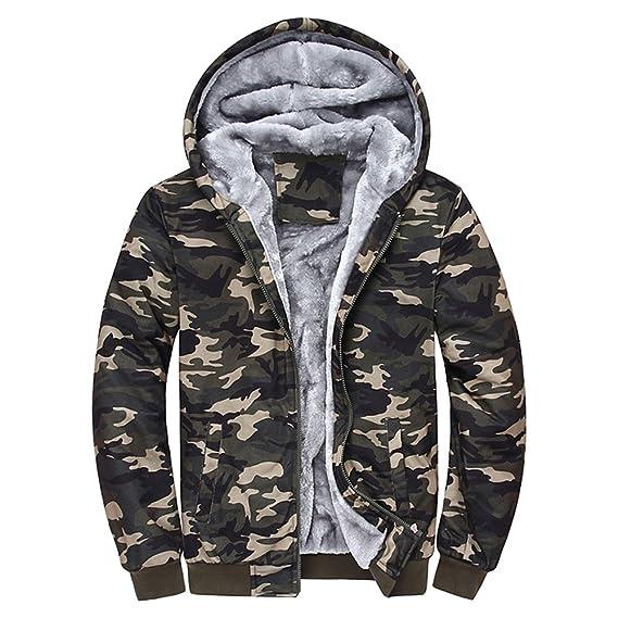 FRAUIT Herren Winterjacke Männer Camouflage Zipper Langarm Jacken Mantel Windbreaker, Windjacke Kapuzenjacke Streetwear HerrenJungen Warm Parka