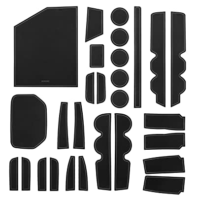 SENSHINE Console Liner Cup Liner for Toyota Tundra 2020 2020 2020 2020 2016 2015 2014 Door Mat Interior Accessories Kit(Bucket Seat, Gray Trim): Automotive