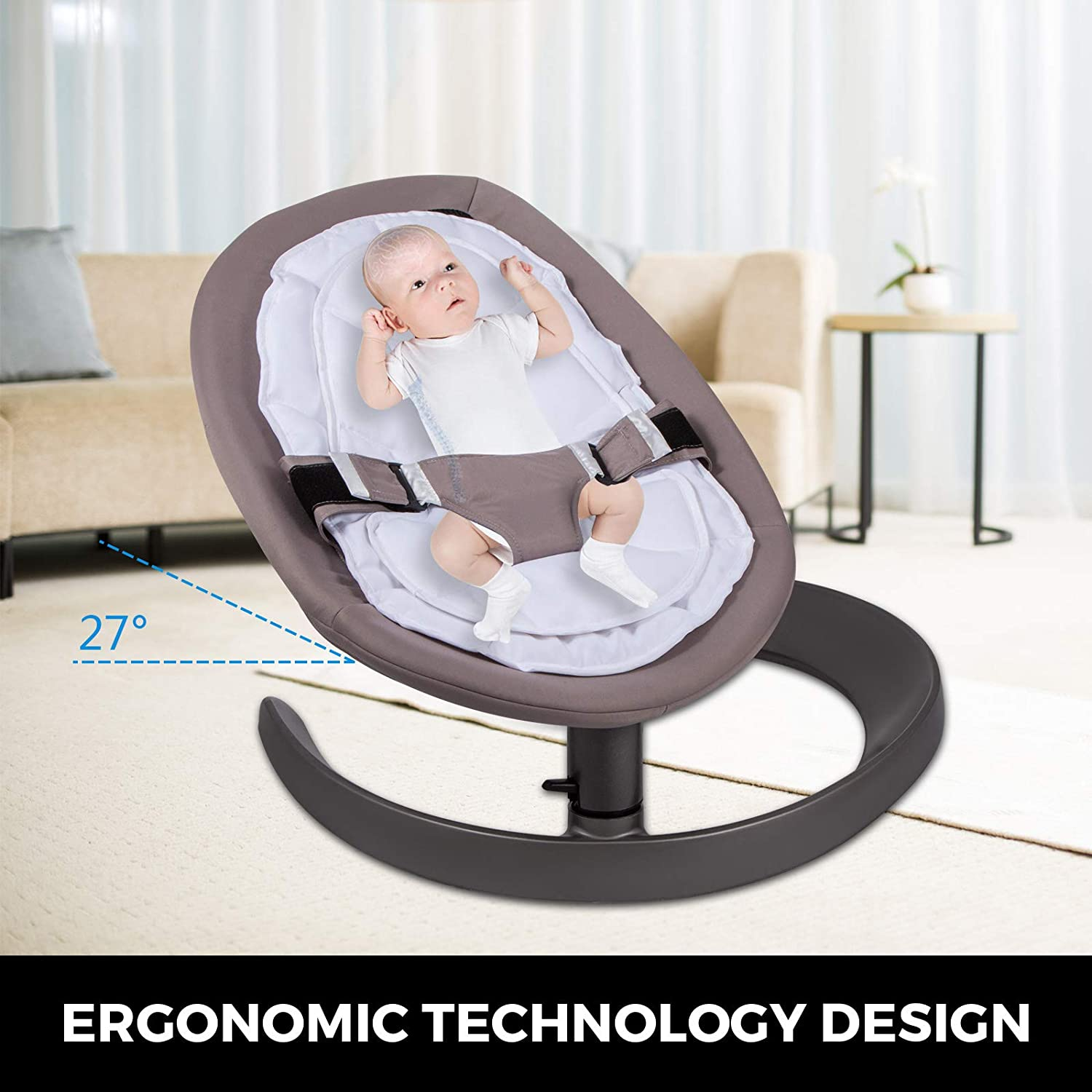 Silver Grey Happybuy Baby Swing Chair for Newborn Toddler Kids from Ages 0 to 5 Bouncer Infant Comfort Swing Chair Soft Toddler Cradle Seat Baby Rocker Plush Rocking