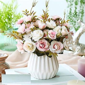 Licxcx Flores Artificiales Decorativo pequeño Dormitorio en Maceta decoración de plástico Ramo seco decoración arreglo Floral