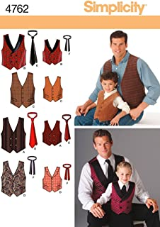 product image for Simplicity 4762 Vest and Tie Sewing Pattern for Men and Boys, Size A (S-XL)