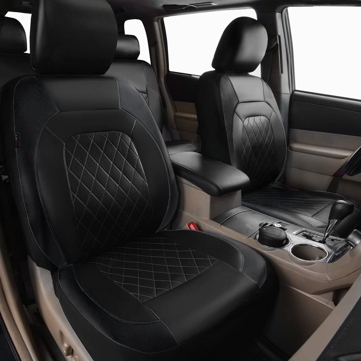 Black with Mint HORSE KINGDOM Universal Car Seat Covers Faux Leather Full Seat 11 pcs Airbag Compatible Breathable