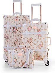 6e4c37dab UNIWALKER Vintage Suitcase 3 Piece Luggage Set with Small Carry On