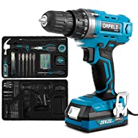 ORFELD Power Drill Cordless 20V Max Lithium-ion Battery, Portable Drill Kits Combo 2 Speed Adjustable LED, 165pcs Accessories & Specialized Package, Easy Carried for Home Improvement & DIY