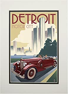 product image for Detroit, Michigan - Vintage Car and Skyline (11x14 Double-Matted Art Print, Wall Decor Ready to Frame)