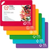 Cutting Board Set of 6 - Large Flexible Plastic Chopping Boards for Kitchen are Dishwasher Safe - BPA Free - Nonslip Mats for