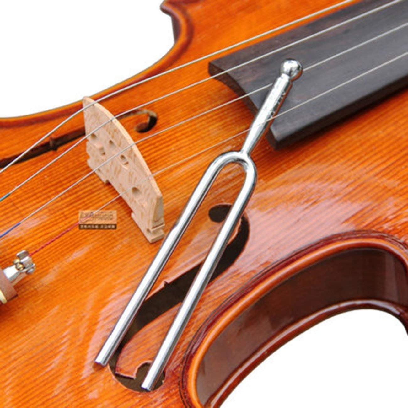 JIUY Accordable 440Hz A Tone Tuning Fork pour violon en acier inoxydable guitare accordeur Instruments de musique Durable argent